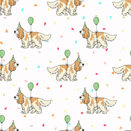 Hand drawn cute cocker spaniel dog with party hat breed seamless vector pattern. Purebred pedigree celebration background. Dog lover English hunting pet all over print.
