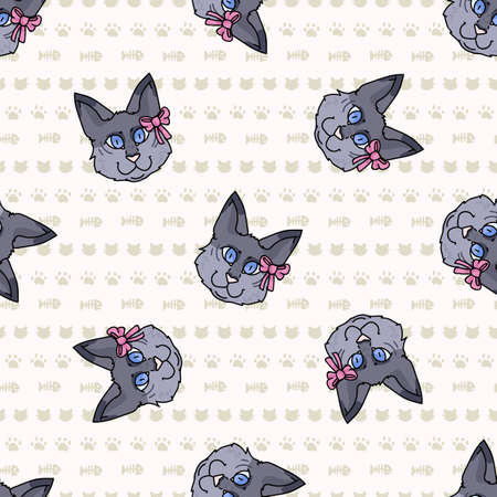 Cute cartoon munchkin cat face with pink bow seamless vector pattern. Pedigree kitty breed domestic cat background. Cat lover grey purebred all over print.