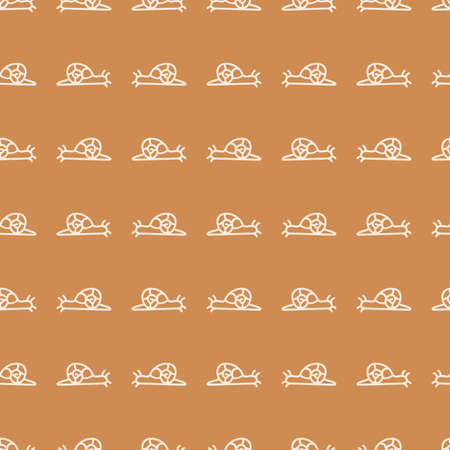 Seamless background snail gender neutral pattern. Whimsical minimal earthy 2 tone color. kids nursery wallpaper or boho cartoon pet fashion all over print.