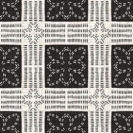 Seamless black white woven cloth geometric linen texture. Two tone monochrome pattern background. Modern textile weave effect. Masculine shape motif repeat jpg print