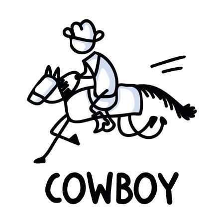 Black and white drawn stick figure of cowboy horseback rider text clip art. Wild masculine stallion for monochrome folk icon sketchnote or illustrated scrapbook vector silhouette motif. Vettoriali