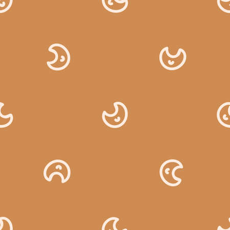 Seamless background moon gender neutral pattern. Whimsical minimal earthy 2 tone color. kids nursery wallpaper or boho cartoon sky fashion all over print.
