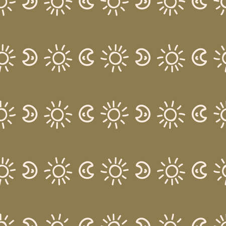 Seamless background moon and sun gender neutral pattern. Whimsical minimal earthy 2 tone color. kids nursery wallpaper or boho cartoon sky fashion all over print.