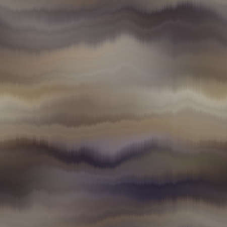 Seamless striped brown gradient pattern swatch. Soft blurry dyed wave ink bleed effect. Abstract masculine neutral ombre drip line tone. Moody dark natural tan linear paint all over print.