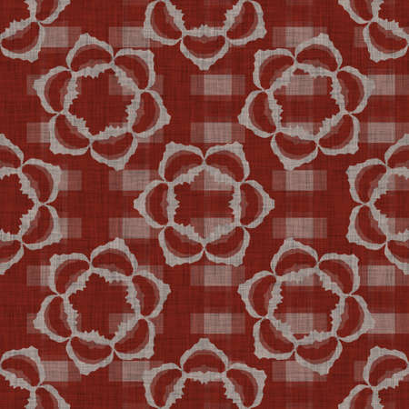 Seamless french floral farmhouse woven linen texture. Two tone red shabby chic pattern background. Modern vintage fabric cloth effect. Drawn flower material rustic cottage decor all over print