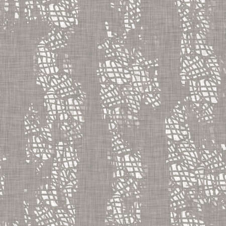 Seamless french neutral greige mottled farmhouse linen effect background. Provence grey white rustic washed out woven pattern texture. Shabby chic style cottage textile print.