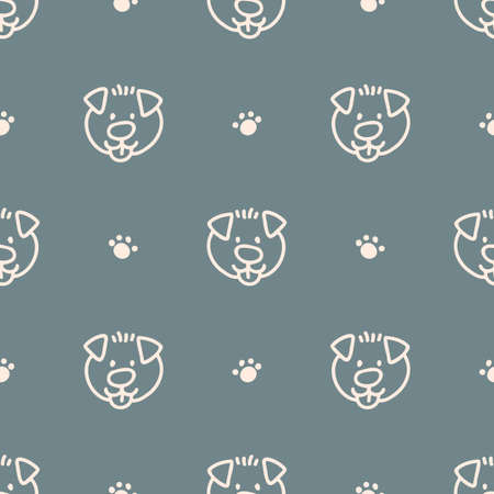 Seamless background pet dog gender neutral pattern. Whimsical minimal earthy 2 tone color. kids nursery wallpaper or boho cartoon pet fashion all over print.