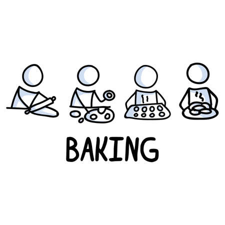 Stick figures icon of baking cookies. Chef home cooking pictogram with text Vettoriali