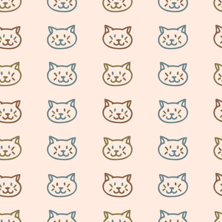 Seamless background pet cat gender neutral pattern. Whimsical minimal earthy 2 tone color. kids nursery wallpaper or boho cartoon pet fashion all over print. Vettoriali