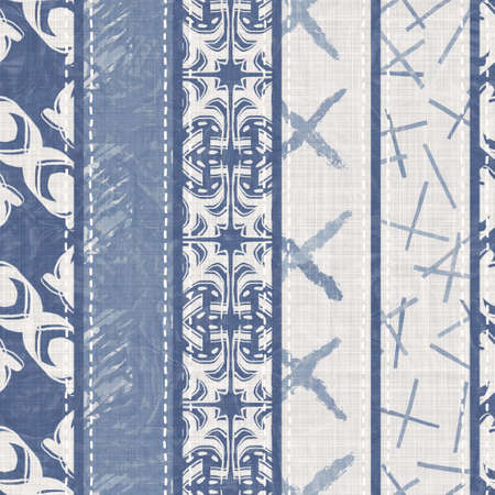 Shabby chic french grey blue linen patchwork stripe. Grunge washed out vintage patched textile effect. Country style home decor soft furnishing, decorative pillow or patched all over fabric print. Archivio Fotografico