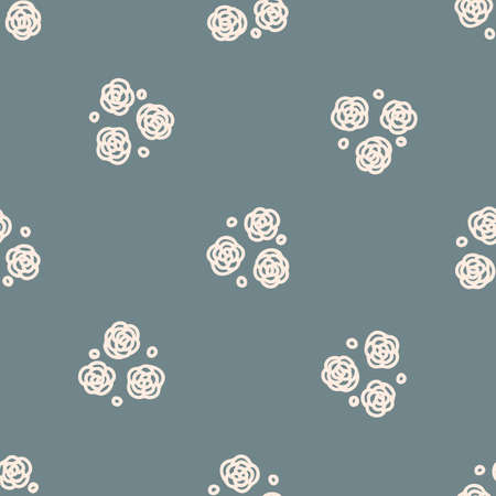 Seamless background flower gender neutral pattern. Whimsical minimal earthy 2 tone color. kids nursery wallpaper or boho cartoon pet fashion all over print. Vettoriali