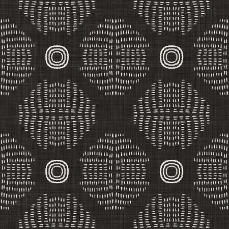 Seamless black white woven cloth circle linen texture. Two tone monochrome pattern background. Modern textile weave effect. Masculine dotted spot repeat jpg print. Archivio Fotografico