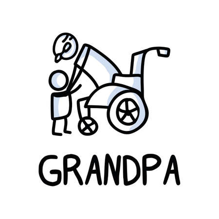 Stick figures icon of senior man hugging grandchild. Elderly embrace together support pictogram with text Vettoriali