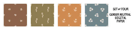 Seemless background floral bug set of 5 patterns. Whimsical minimal earthy 2 tone color. kids nursery wallpaper or boho cartoon pet fashion all over print.