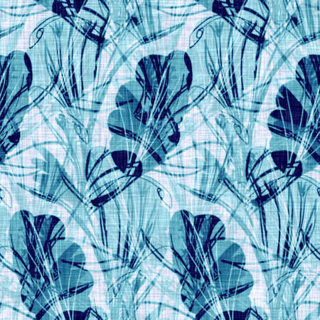 Cyanotypes blue white botanical linen texture. Faux photographic leaf sun print effect for trendy out of focus fashion swatch. Mono print foliage in 2 tone color. High resolution repeat tile.