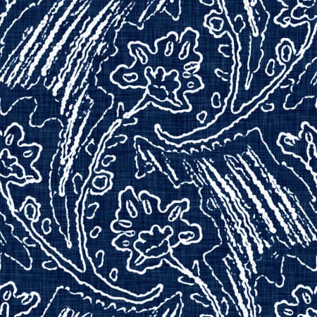 Acid wash blue jean effect texture with decorative linen floral motif background. Seamless denim textile fashion cloth fabric all over print. Stock Photo