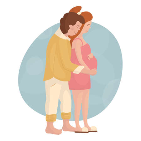 The man hugs his pregnant wife from behind. Young white couple in love waiting for the birth of a baby. Happy pregnancy and motherhood. Maternity leave for future parents. Cute red-haired girl.