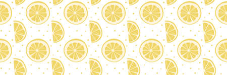 Bright fruity seamless pattern with yellow round and semicircular slices of lemon. Wide background for banner, poster. Cool print for children's and teenage clothes, wrapping paper, packaging, covers