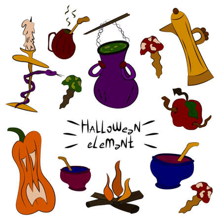 Collection of witch objects, potions, ingredients. Halloween spooky elements, cliparts, stickers. Magic kitchen utensils. Cool children's prints holiday theme. For design of cards, posters, banners
