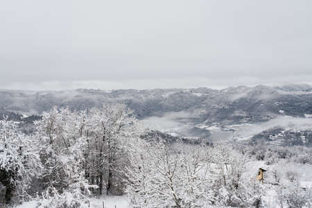 All-white landscape covered by snow and fog in northern Italy.