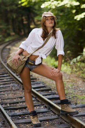 Traveling along old railways tracks Stock Photo - 3787839
