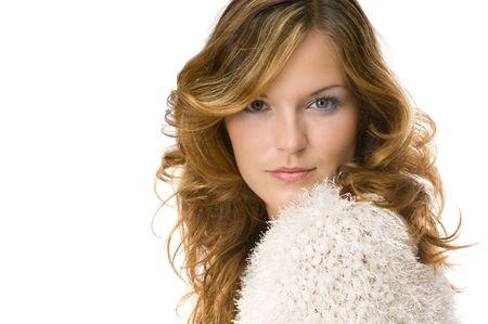 Beautiful lady wearing warm sweater isolated on white background Stock Photo - 3787843