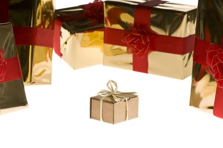 Simple present isolated on white background surrounded by glossy wrapped presents Stock Photo - 3792065