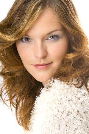 Beautiful lady wearing warm sweater isolated on white background Stock Photo - 3792596