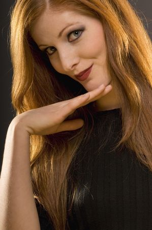Red hair fashion model studio portrait Stock Photo - 3792600