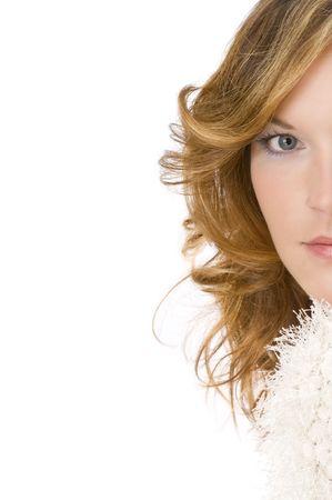 Beautiful lady wearing warm sweater isolated on white background Stock Photo - 3792582