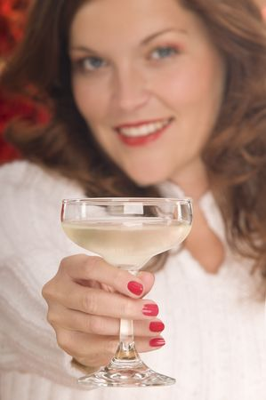 Portrait of beautiful lady toasting with a coupe of champagne Stock Photo - 3792597