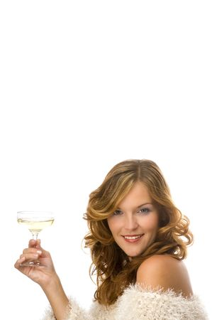 Beautiful lady toasting with champagne isolated on white background Stock Photo - 3794910