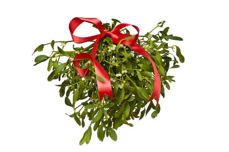 Hanging green mistletoe with a red bow on white background Stock Photo