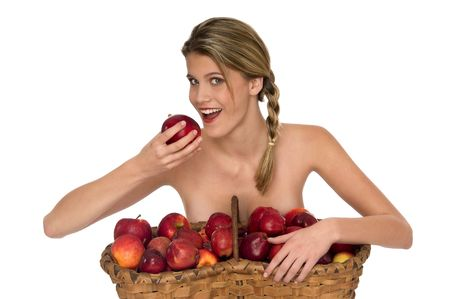 Young blond woman taking a bite of a red apple isolated on white background Stock Photo - 3836996