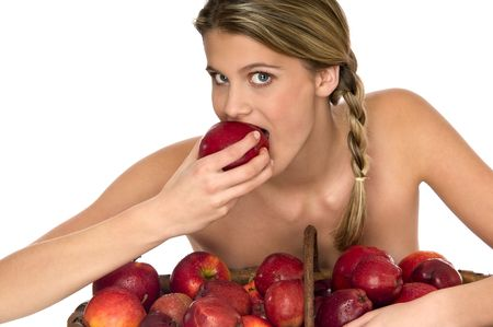 Attractive naked model tasting a juicy red apple isolated on white background Stock Photo - 3837003