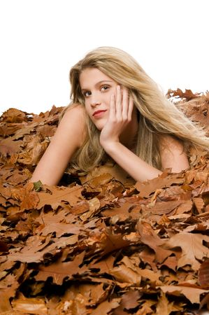 Sexy blond model lying in autumn leaves on white background Stock Photo - 3837007