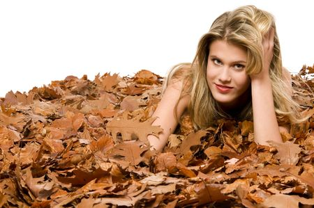 Naked model surrounded by dried leaves on white background Stock Photo - 3837009