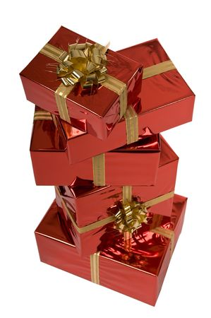 Pile of red Christmas gifts isolated on white background Stock Photo - 3852653