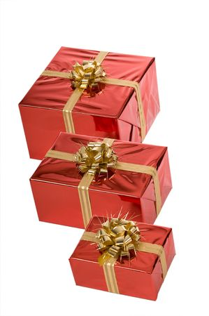 Top view of three Christmas presents isolated on white background Stock Photo - 3852655