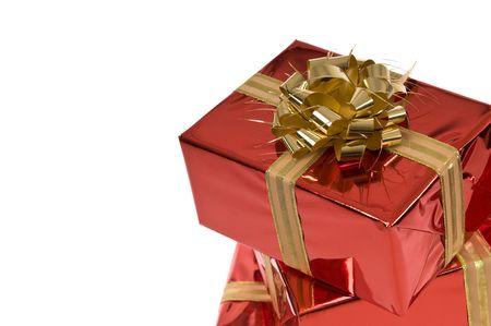 Gold bow on red gift box with copy-space Stock Photo - 3852658