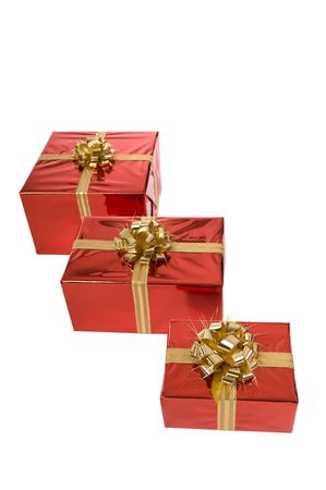 Three Christmas gifts in a row isolated on white Stock Photo - 3852646