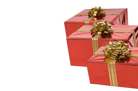 Three Christmas presents in a row with copy-space Stock Photo - 3852650