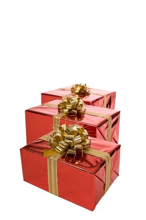 Group of three red Christmas presents isolated on white background Stock Photo - 3852647