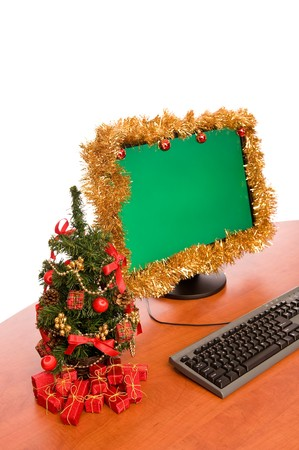 Christmas decorated office desk on white background photo