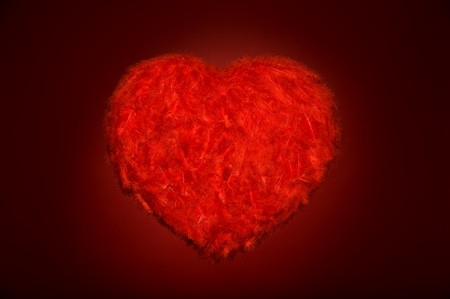 Huge red feather heart on black background Stock Photo - 4119098