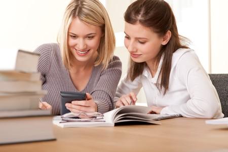 Two friends writing homework Stock Photo - 4570507