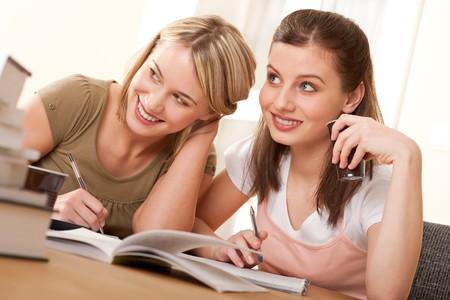 Two girls doing homework Stock Photo - 4570578