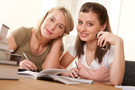 Two students studying home and having coffee Stock Photo - 4600183