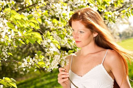 long red hair woman: Long red hair woman in white dress standing under blooming tree