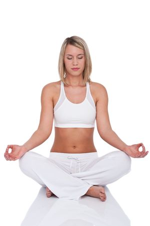 Fitness series - Blond woman in yoga position on white background Stock Photo